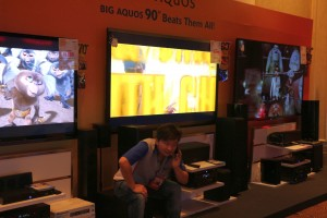 Huge LED TVs from Sharp. At right is the 90-inch monster TV.