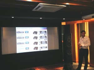 Steven showing all JVC projector models available for 2014