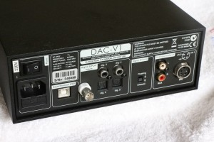 The busy back panel of the Naim DAC-V1. Note the BNC and DIN connectors.