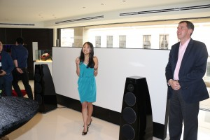 Meridian CEO Tim Ireland (right) being introduced to the audiophiles.