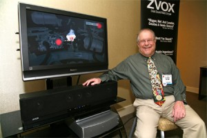Tom Hannaher founded ZVOX in 2003, seen here with what looks like an early ZVOX soundbar
