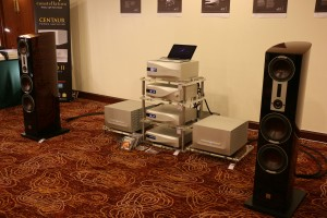 The dCS Vivaldi system with Constellatioin Centaur power amps and Dali speakers. This was one of the best sounding digital systems in the show.