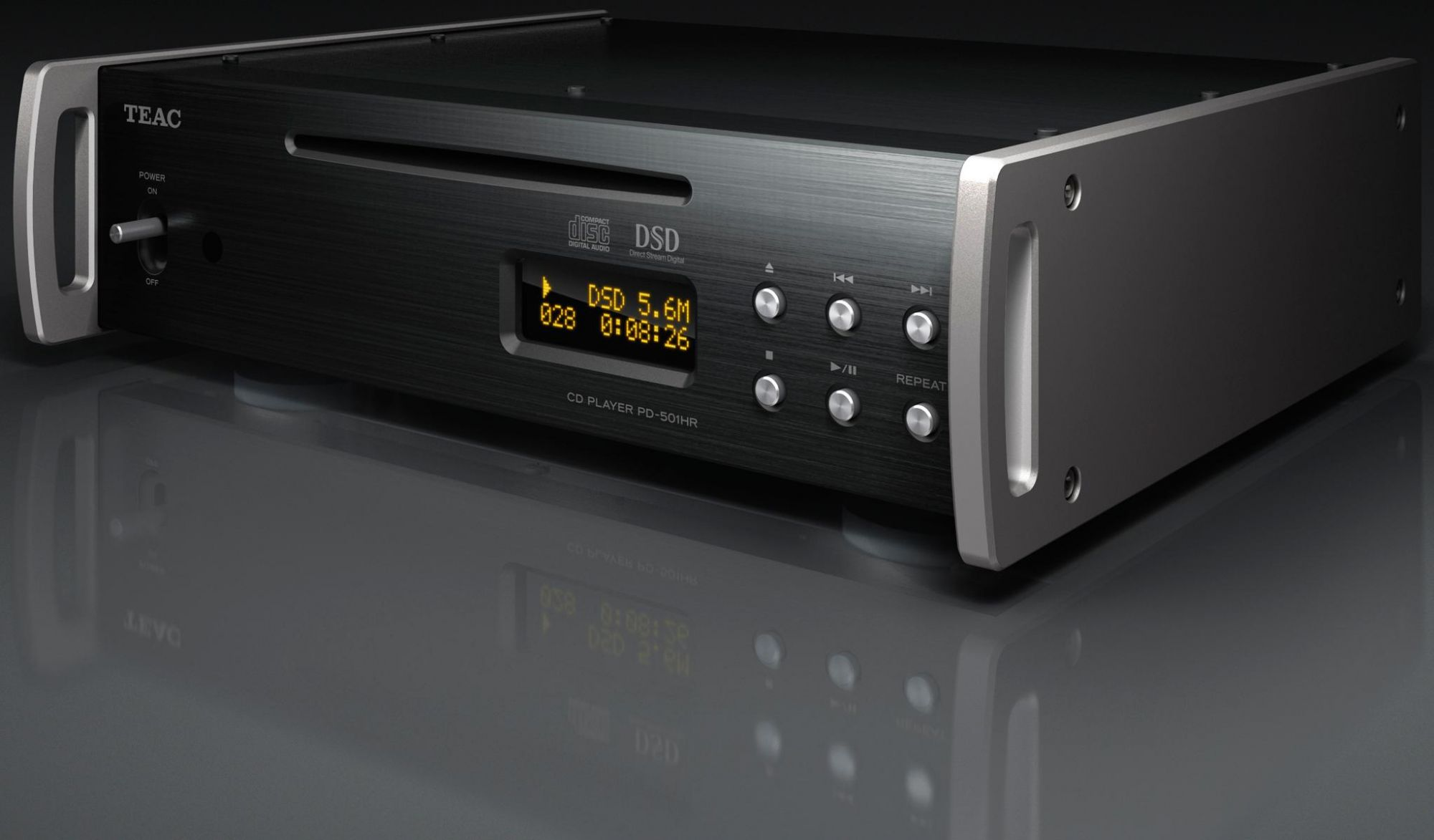 The TEAC's cool and smart front with its slot loading CD mechanism