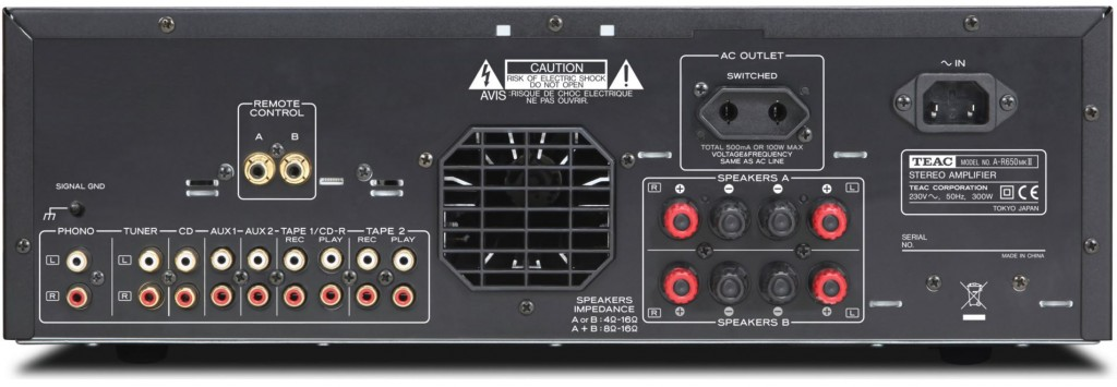 Rear panel of the A-R650 MK11.  All analogue inputs only.
