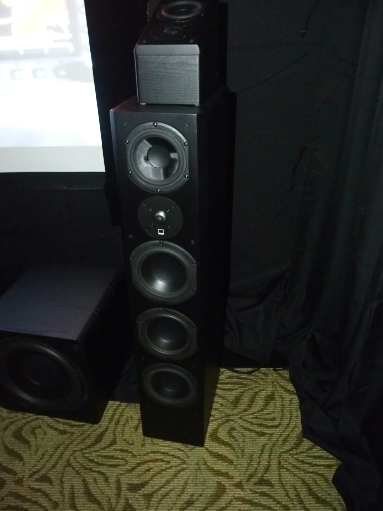The SVS Prime Pinnacle speaker in Maxx AV's room. Note the upward-firing Atmos speaker on top.