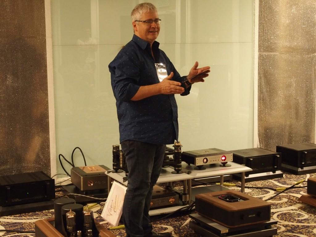 Owner and designer of Kronos turntables Louis Desjardins in YL Audio's room.