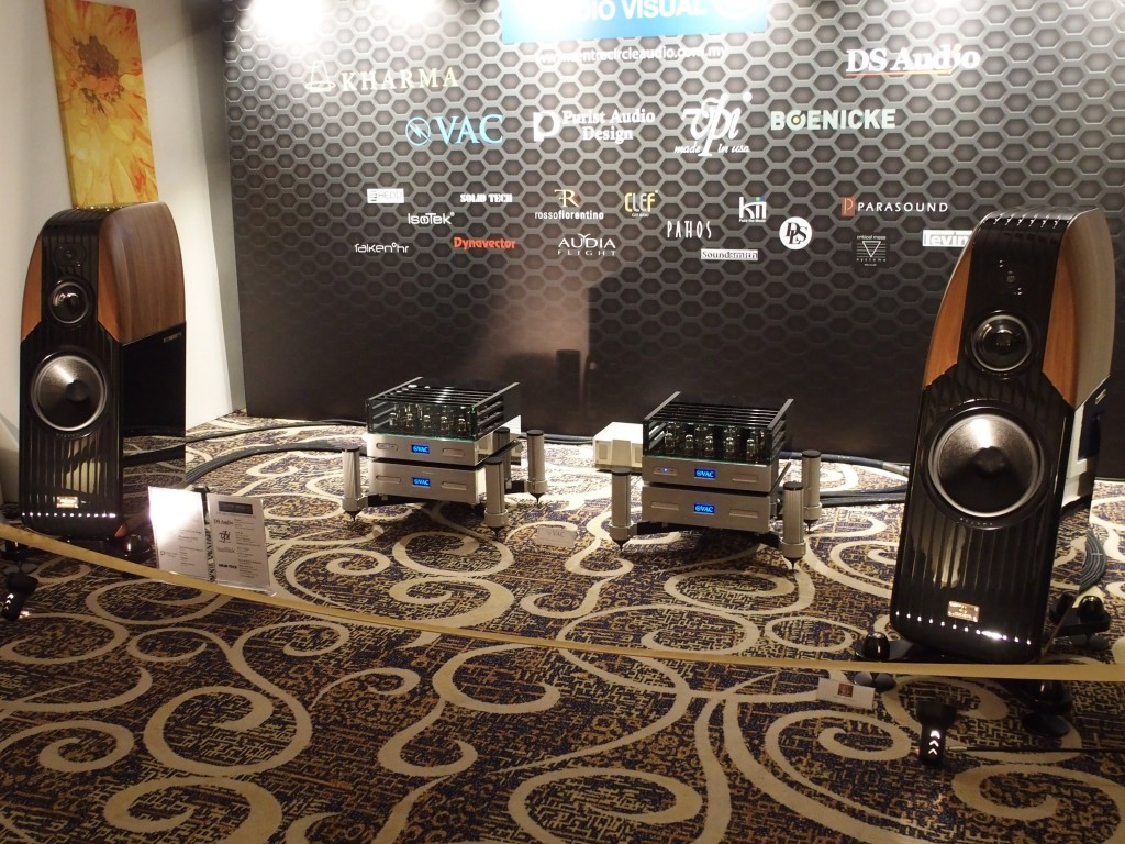 The Kharma Exquisite Classique speakers driven by the VAC Statement 450 iQ monoblock amps