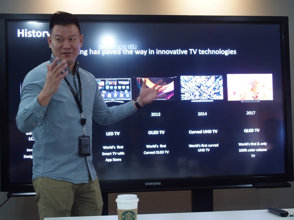Samsung Malaysia Electronics Head of AV TV Vincent Lee explaining the progress made by samsung in TV technology.