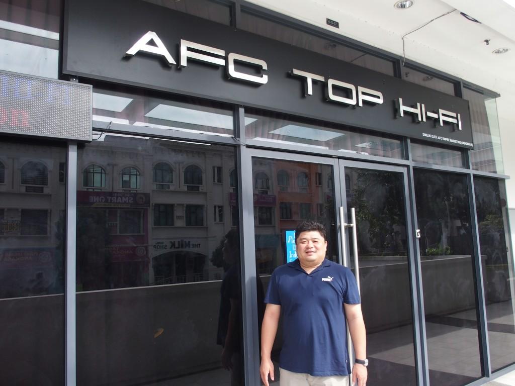 Matthew Ong posing joutsidehis hi-fi shop in Bandar Kinrara 5, Puchong.