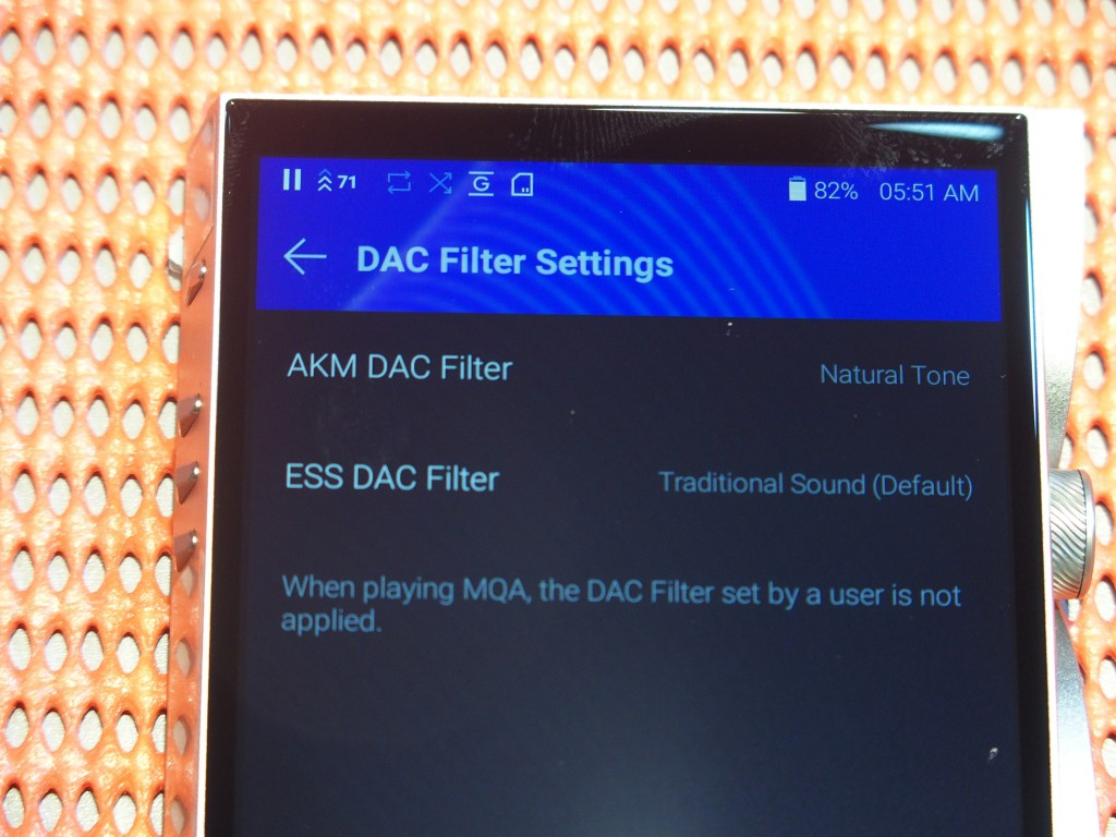 There are separate filter settings for the AKM and ESS DACs.
