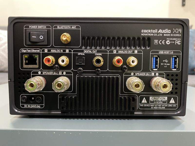 The connectors on the back of the unit. Note the high quality speaker terminals.